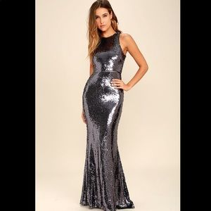 Lulu's Dresses - Lulus gray pewter sequin long dress